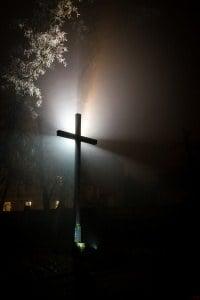 Krobia Park we mgle krzyż