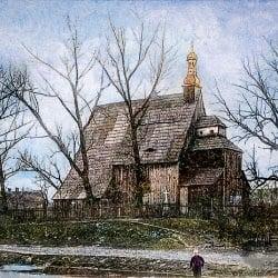 Kościół p.w. św. Michała Archanioła w Domachowie w gminie Krobia zdjęcie 1920 r.