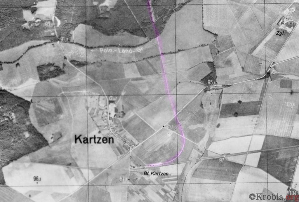 Linia kolejowa Karzec - Domachowo na zdjęciu lotniczym